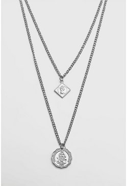 Double Layer Pendant Necklace, Silver, HERREN