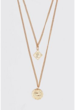 Double Layer Pendant Necklace, Gold, HERREN