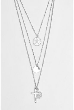 Silver Multi Layer Coin And Cross Necklace