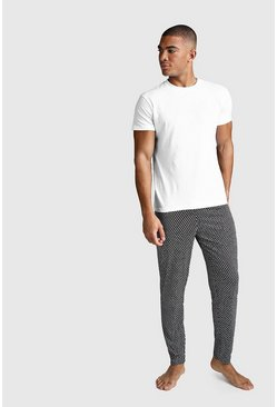 Mens Black Dot Print Lounge Set