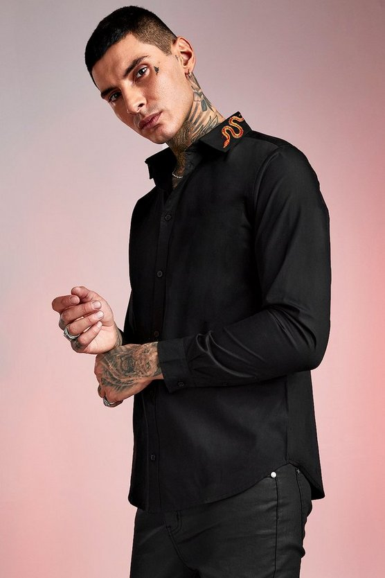 Black Snake Embroidered Collar Long Sleeve Shirt