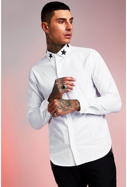 Star Embroidered Collar Long Sleeve Shirt, White, HERREN