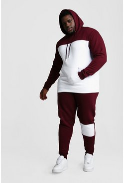 Big And Tall Colour Block Tracksuit, White, HOMMES