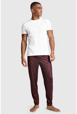Mens Burgundy Paisley Print Lounge Set