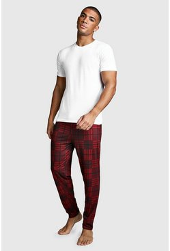 Check Print Lounge Set, Red, HOMMES