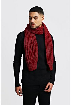 Burgundy Straight Chunky Knit Scarf