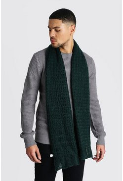 Mens Dark green Knitted Scarf