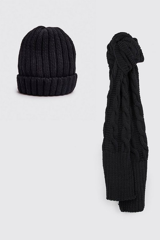 Fisherman Beanie & Scarf Set, Black