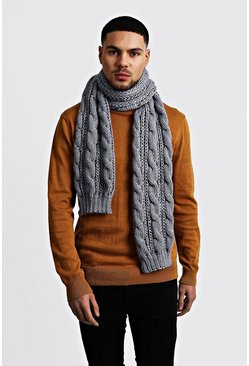 Mens Grey Chunky Knit Scarf