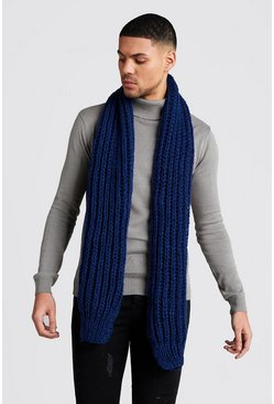 Navy Straight Chunky Knit Scarf