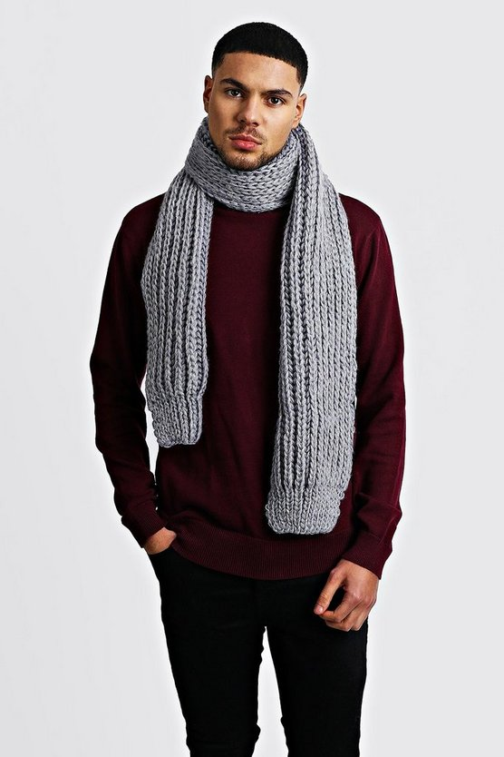 Straight Chunky Knit Scarf, Grey