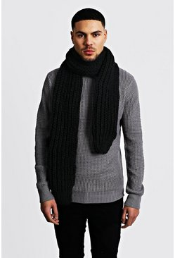 Straight Chunky Knit Scarf, Black