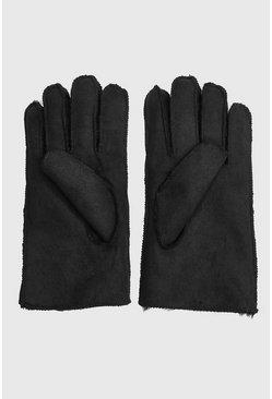 Black Faux Suede Fur Lined Gloves
