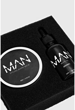 MAN Beard Oil And Balm Set, Black