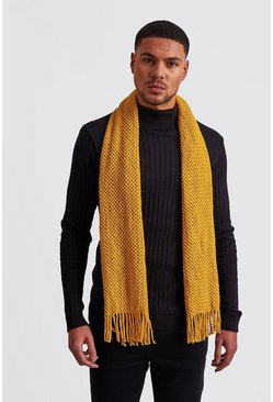 Waffle Knitted Scarf, Mustard