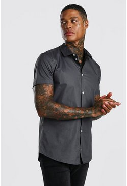 Charcoal Muscle Fit Short Sleeve Shirt