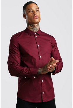 Muscle Fit Long Sleeve Shirt, Wine