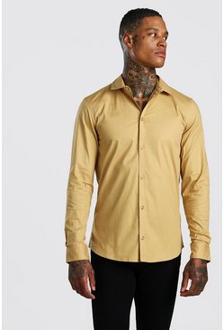 Camel Muscle Fit Long Sleeve Shirt