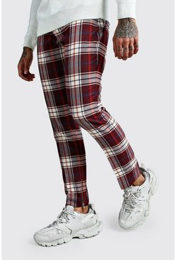 Burgundy Tartan Ankle Zip Detail Smart Trouser