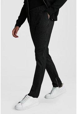 Black Stripe Ankle Zip Detail Smart Pants