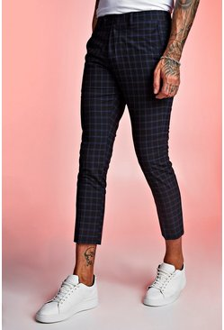 Mens Navy Tartan Skinny Fit Cropped Formal Trouser