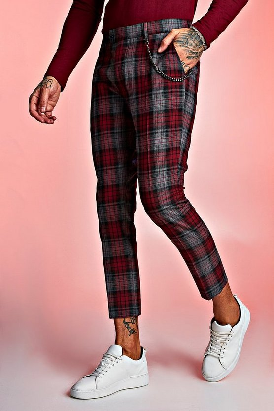 Mens Red Tartan Cropped Trouser With Chain Detail