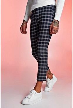 Mens Navy Textured Check Smart Cropped Trouser