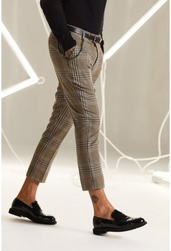 Brown Skinny Cropped Heritage Check Chain Trousers