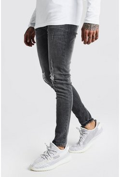 Mens Dark grey Skinny Jeans With Ripped Knees