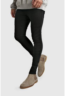 Mens Charcoal Washed Skinny Fit Jeans With Stud Detail