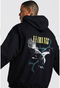 Mens Black Oversized Eagle Graphic Back Print Hoodie