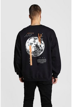 Mens Black Oversized Sweat With Back Graphic Print