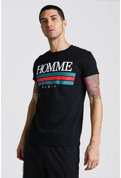 Mens Black Homme Paris Front Print T-Shirt With Rolled Sleeves