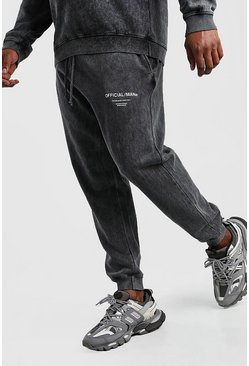 Black Plus Size Official Man Acid Wash Jogger