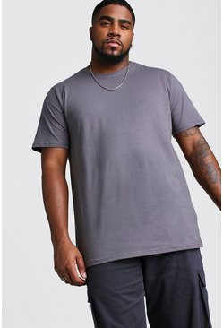 Charcoal Big And Tall Longline Basic T-Shirt