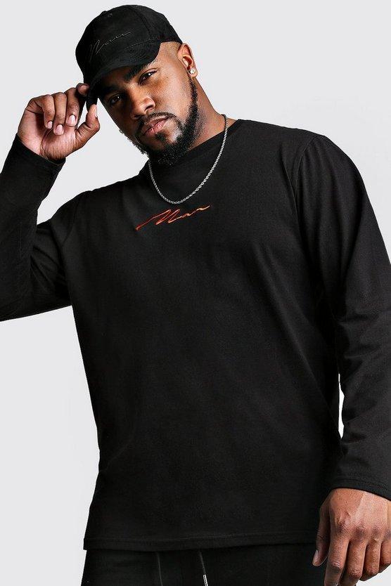 big and tall man script long sleeve t shirt boohooman. Black Bedroom Furniture Sets. Home Design Ideas