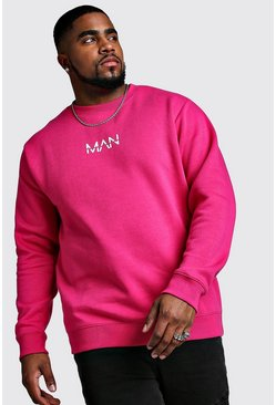 Mens Pink Big And Tall MAN Dash Sweater