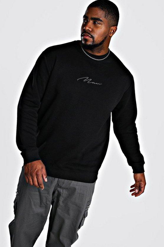 big and tall man script sweater boohooman. Black Bedroom Furniture Sets. Home Design Ideas