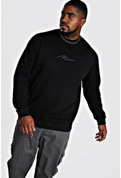 Big And Tall Man Script Sweater, Black