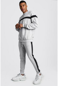 Mens Grey Hooded Tracksuit With Contrast Panels