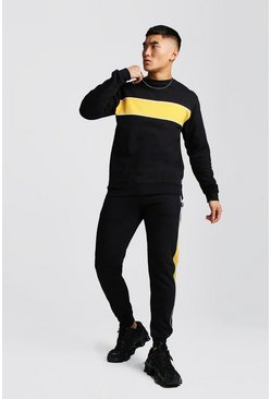 Colour Block Sweater Tracksuit With Piping, Black