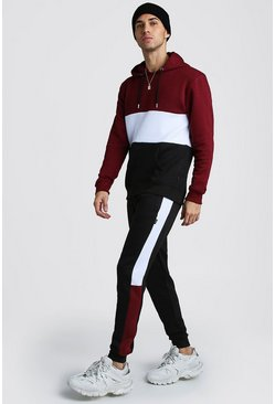 Colour Block Hooded Tracksuit, Wine, HOMMES