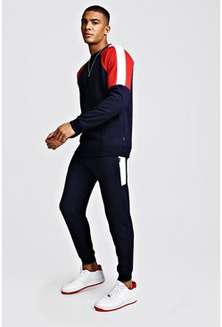 Colour Block Sweater Tracksuit, Navy
