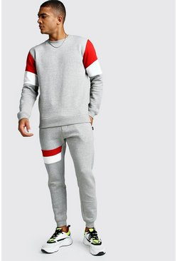 Sweater Tracksuit With Contrast Panel, Grey, HOMMES