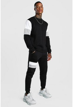 Sweater Tracksuit With Contrast Panels, Black, HOMMES