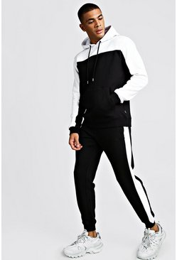 Black Colour Block Hooded Tracksuit