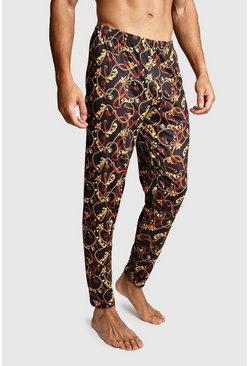 Mens Black Chain Print Lounge Pants