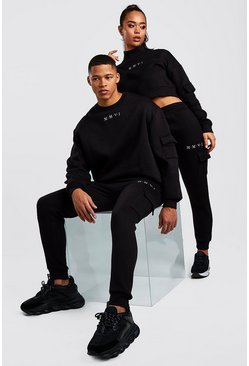 Black His Cargo Sweater Tracksuit