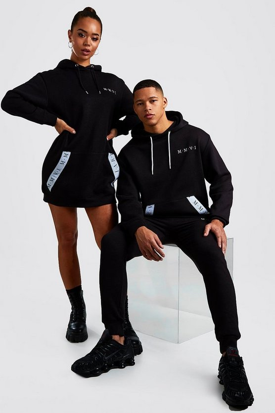 Black His Loose Fit Hooded Tracksuit With Tape