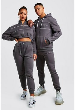 Charcoal His Zip Hooded Tracksuit With Piping